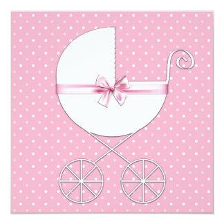 """Fiesta de bienvenida al bebé rosada del lunar invitación 5.25"""" x 5.25"""""""