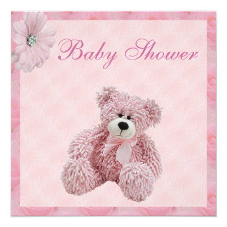 """Fiesta de bienvenida al bebé rosada del oso de invitación 5.25"""" x 5.25"""""""