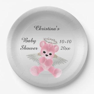 Fiesta de bienvenida al bebé rosada del oso de plato de papel 22,86 cm