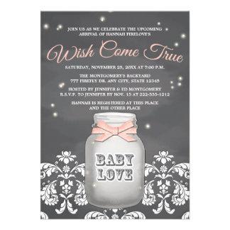 Fiesta de bienvenida al bebé rosada del tarro de a comunicado