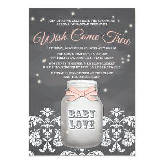 Fiesta de bienvenida al bebé rosada del tarro de comunicado
