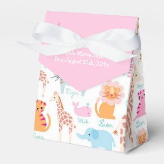Fiesta de bienvenida al bebé rosada del tema del cajas para detalles de boda