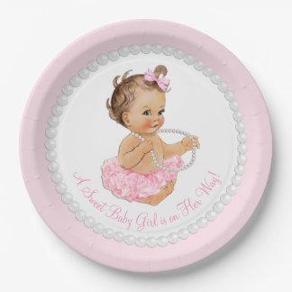 Fiesta de bienvenida al bebé rosada del tutú de la plato de papel de 9 pulgadas