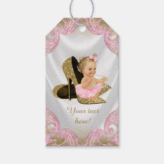 Fiesta de bienvenida al bebé rosada del zapato del etiquetas para regalos