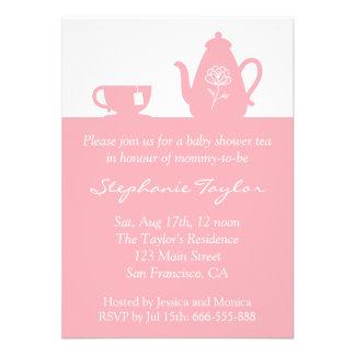 Fiesta de bienvenida al bebé rosada dulce fiesta invitacion personal