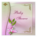 Fiesta de bienvenida al bebé rosada elegante de la invitación 13,3 cm x 13,3cm