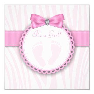 """Fiesta de bienvenida al bebé rosada elegante de la invitación 5.25"""" x 5.25"""""""