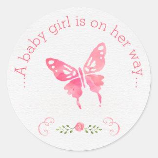 Fiesta de bienvenida al bebé rosada elegante del pegatina redonda