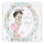 Fiesta de bienvenida al bebé rosada elegante comunicados personalizados