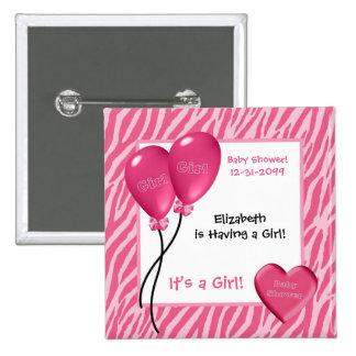 Fiesta de bienvenida al bebé rosada femenina del c pin cuadrada 5 cm