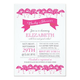 Fiesta de bienvenida al bebé rosada fucsia moderna anuncio personalizado