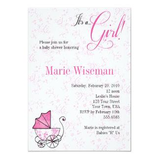 Fiesta de bienvenida al bebé rosada Invitationas Invitación 12,7 X 17,8 Cm