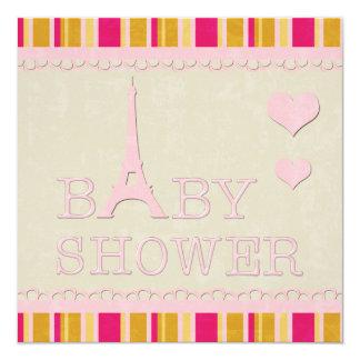 """Fiesta de bienvenida al bebé rosada linda de la invitación 5.25"""" x 5.25"""""""