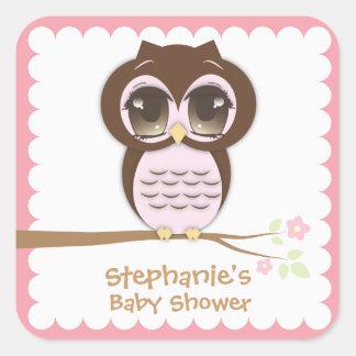 Fiesta de bienvenida al bebé rosada linda del búho pegatina cuadrada