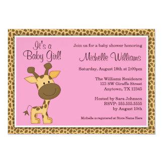 Fiesta de bienvenida al bebé rosada linda del invitación 12,7 x 17,8 cm