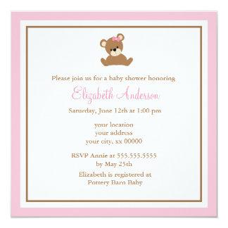 """Fiesta de bienvenida al bebé rosada linda del oso invitación 5.25"""" x 5.25"""""""