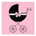 Fiesta de bienvenida al bebé rosada negra del invitación