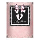 Fiesta de bienvenida al bebé rosada negra rosada comunicados personalizados