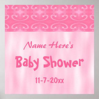 Fiesta de bienvenida al bebé rosada poster