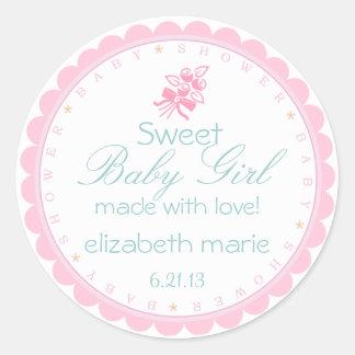 Fiesta de bienvenida al bebé rosada pegatina redonda
