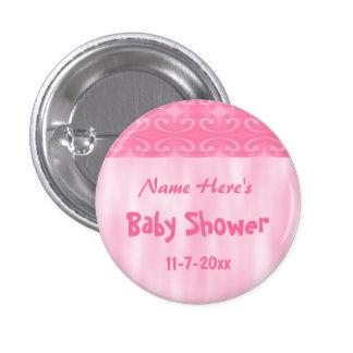 Fiesta de bienvenida al bebé rosada pin redondo de 1 pulgada