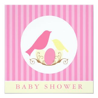 Fiesta de bienvenida al bebé rosada y amarilla de invitación 13,3 cm x 13,3cm