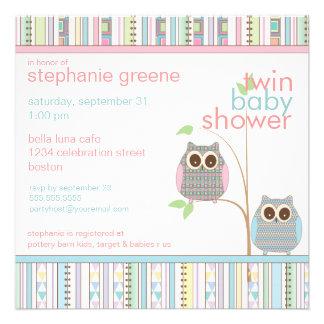 Fiesta de bienvenida al bebé rosada y azul gemela comunicados personalizados