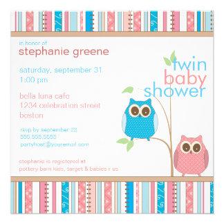 Fiesta de bienvenida al bebé rosada y azul gemela anuncios