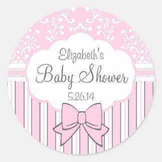 Fiesta de bienvenida al bebé rosada y blanca del pegatina redonda