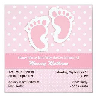Fiesta de bienvenida al bebé rosada y blanca invitación 13,3 cm x 13,3cm