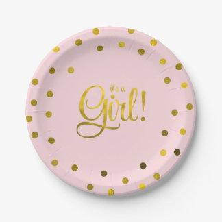Fiesta de bienvenida al bebé rosada y falsa del plato de papel de 7 pulgadas