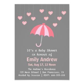 Fiesta de bienvenida al bebé rosada y gris con anuncio personalizado
