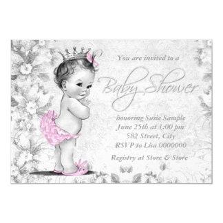 Fiesta de bienvenida al bebé rosada y gris del invitación 12,7 x 17,8 cm