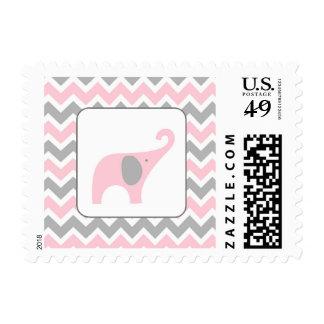 Fiesta de bienvenida al bebé rosada y gris del sellos postales