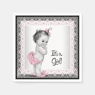 Fiesta de bienvenida al bebé rosada y gris del servilletas desechables