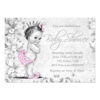 Fiesta de bienvenida al bebé rosada y gris del vin invitaciones personalizada