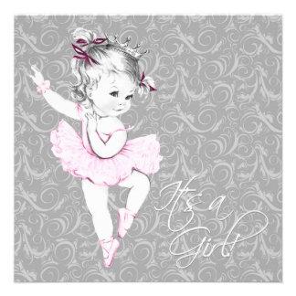 Fiesta de bienvenida al bebé rosada y gris del vin anuncios personalizados