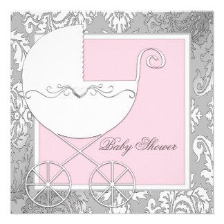 Fiesta de bienvenida al bebé rosada y gris elegant