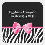 Fiesta de bienvenida al bebé rosada y negra de mod colcomania cuadrada