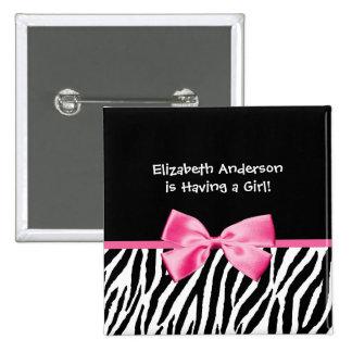 Fiesta de bienvenida al bebé rosada y negra de mod pin cuadrada 5 cm