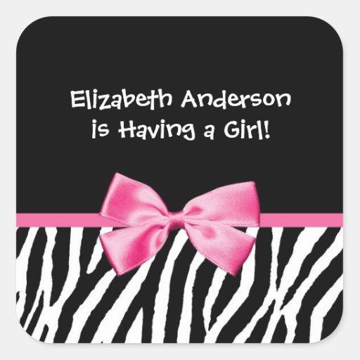 Fiesta de bienvenida al bebé rosada y negra de calcomanías cuadradass