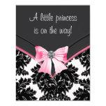 Fiesta de bienvenida al bebé rosada y negra del anuncios personalizados