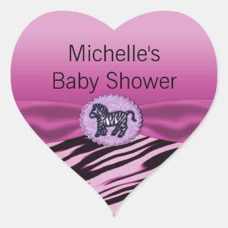 Fiesta de bienvenida al bebé rosada y negra del pegatina en forma de corazón