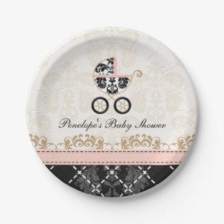 Fiesta de bienvenida al bebé rosada y negra del plato de papel de 7 pulgadas