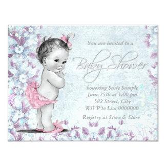 Fiesta de bienvenida al bebé rosada y púrpura del comunicados personales