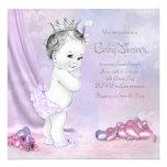 Fiesta de bienvenida al bebé rosada y púrpura eleg comunicados personales