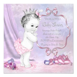 Fiesta de bienvenida al bebé rosada y púrpura comunicados personales