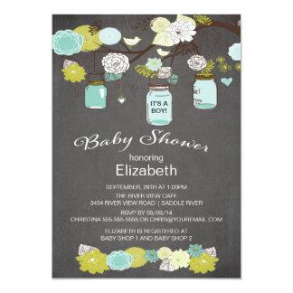 Fiesta de bienvenida al bebé rústica del tarro de invitación 12,7 x 17,8 cm