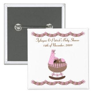 fiesta de bienvenida al bebé temática del rosa y pin cuadrado