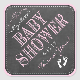 Fiesta de bienvenida al bebé Tri Angulosa rosada Pegatina Cuadrada